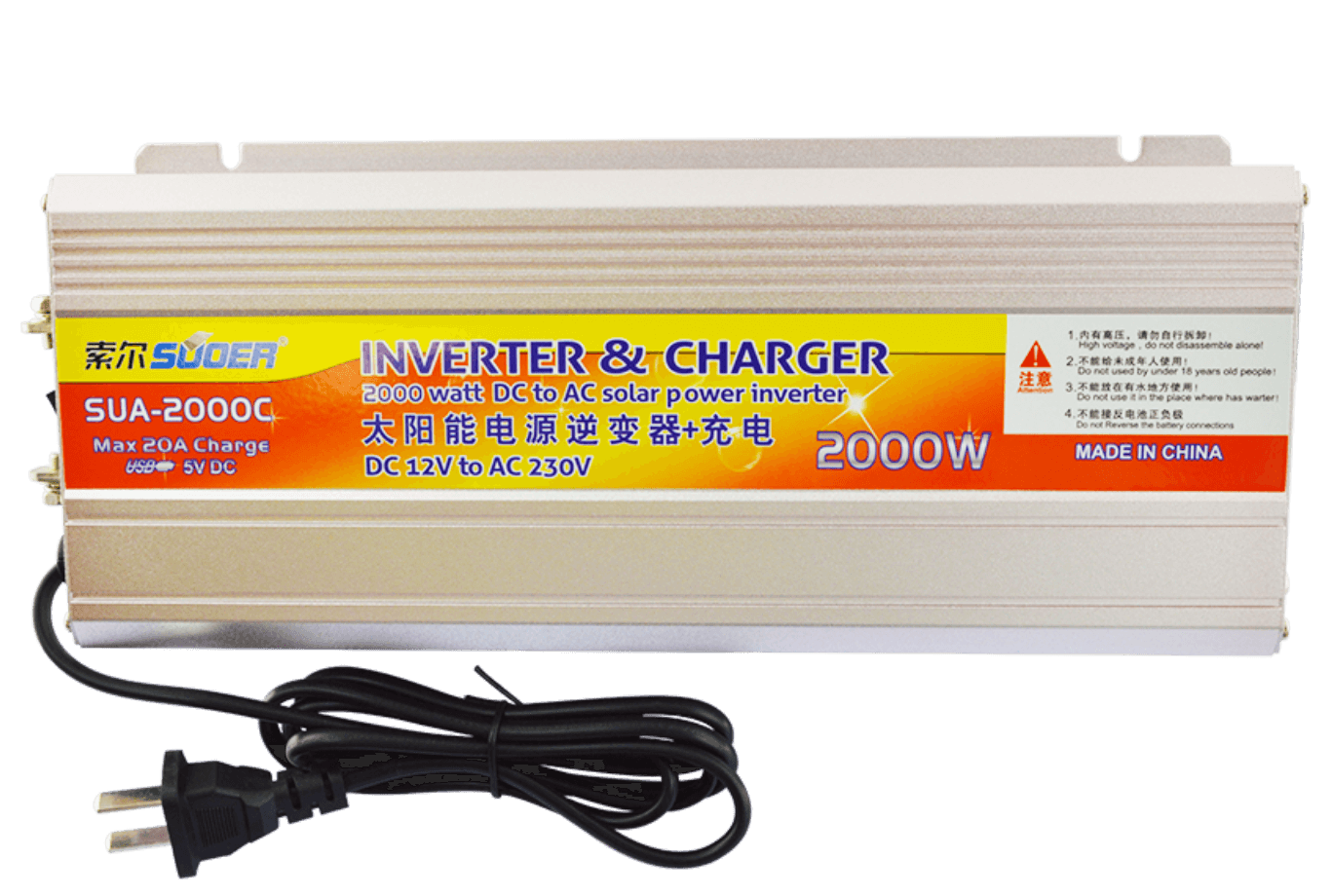 2000W 12V 220V New Power Inverter with Charger