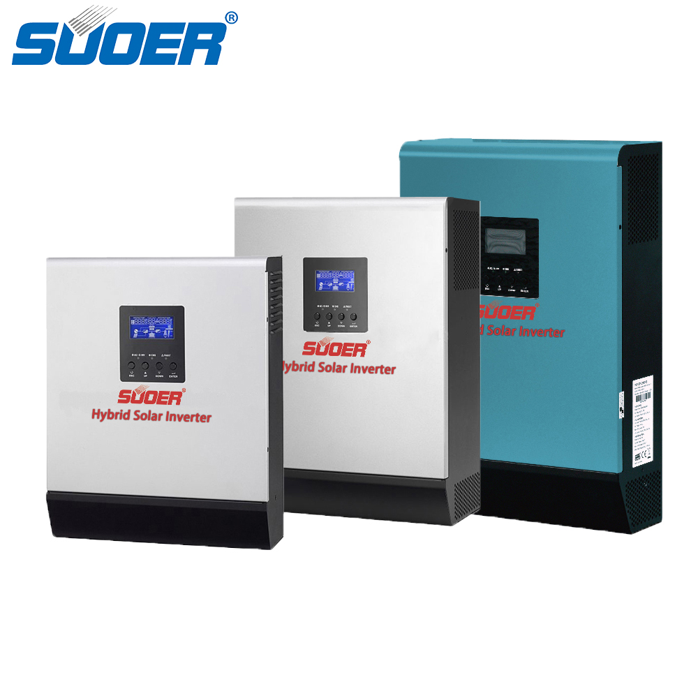 Suoer 12V 24V 48V 1000VA to 5000VA Pure Sine Wave Hybrid inverter With Solar Controller