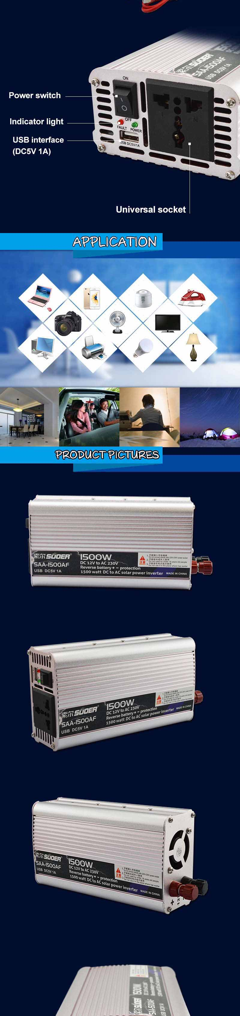 New Suoer DC 12V To 220V Solar Car Power Inverter 1000W 1500W + USB
