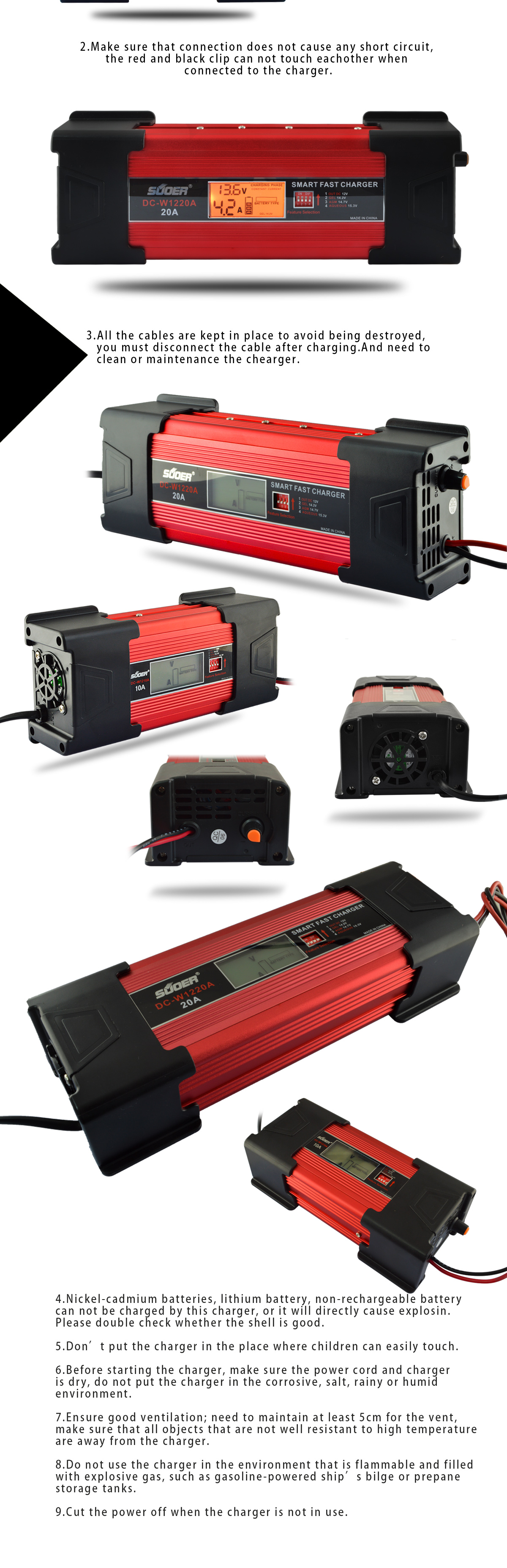 DC-W1210A - AGM/GEL Battery Charger - Foshan Suoer