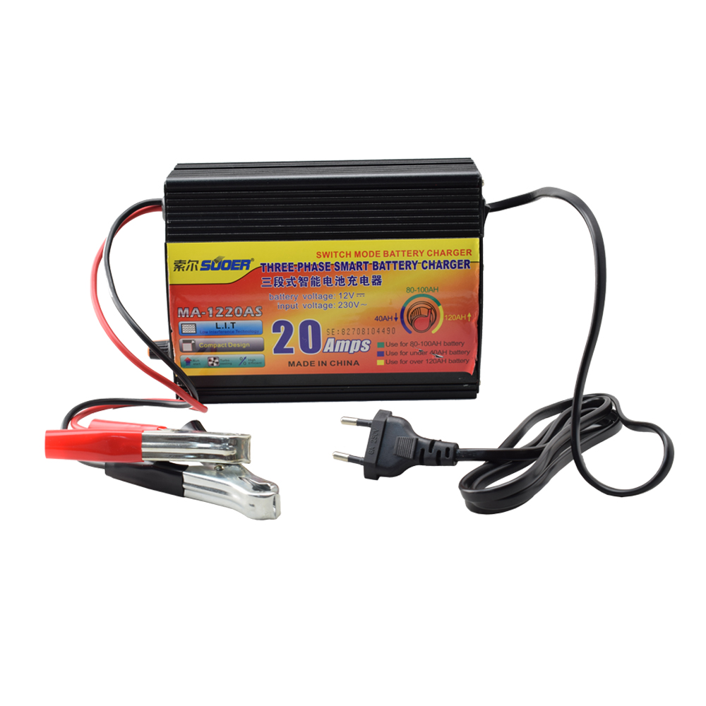 Suoer 12V 20A Battery Charger Smart Solar Universal Car Battery Charger