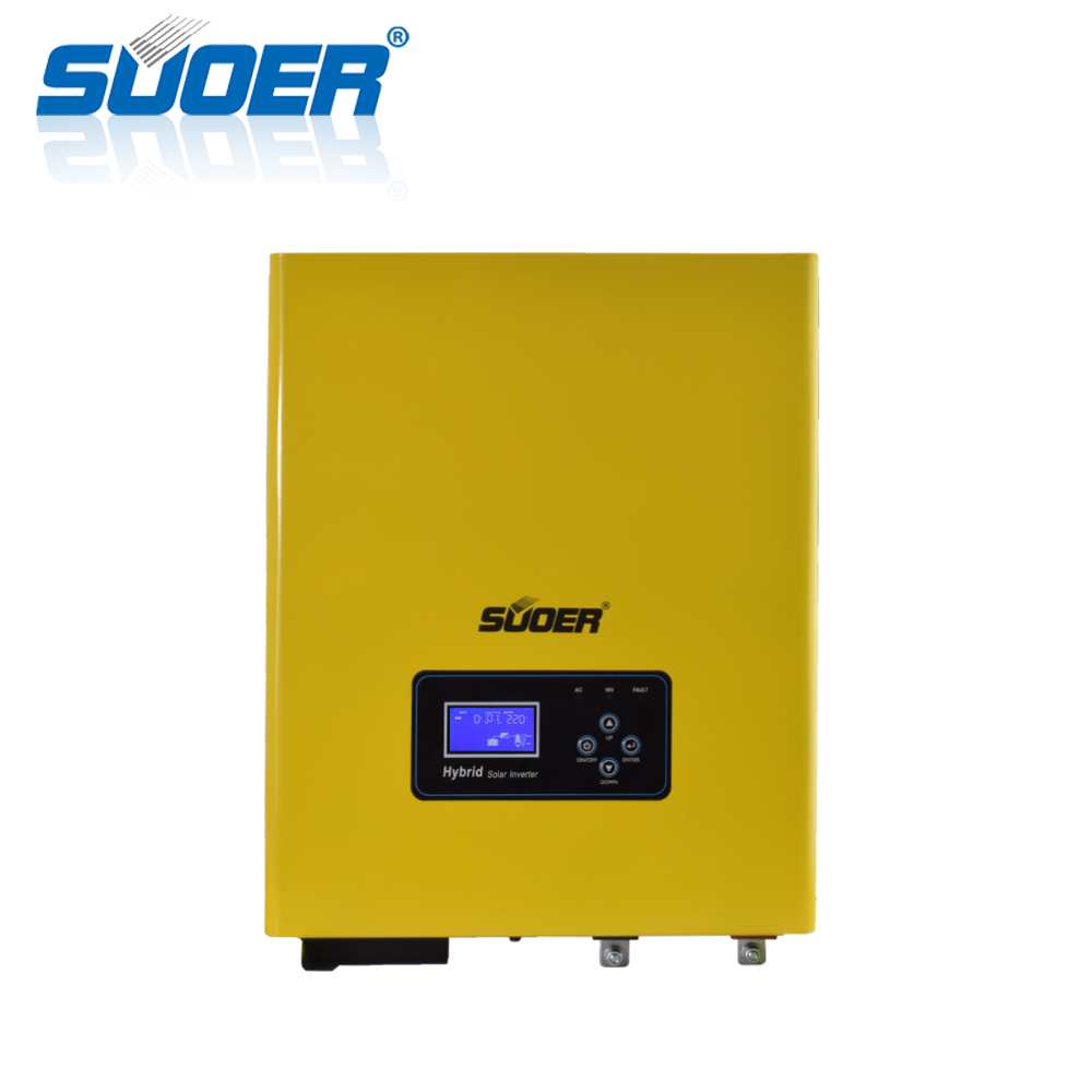 Suoer 3000VA 24V DC to 220V AC 3KVA Pure Sine Wave Off Grid Hybrid Solar Inverter with 50A Charger and PWM Solar Controller